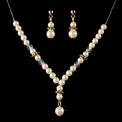 Children's Necklace Earring Set8442 Gold Ivory