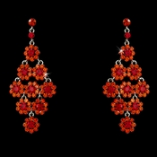 Glamorous Orange Red Chandelier Earrings E 939