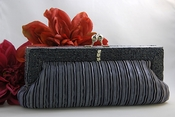 Gorgeous Charcoal Grey Pleated Satin Beaded Evening Bag 304