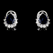 Floral Rhinestone Bridal Earrings with Navy Blue Accents E 5397