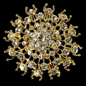 Gorgeous Gold Rhinestone Bridal Brooch 3179