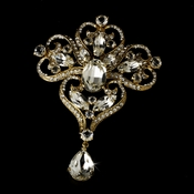 * Majestic Gold Dynasty Bridal Rhinestone Brooch Pin - Brooch 44