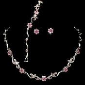 * Silver Pink Floral Bridal Jewelry Set NEB 381