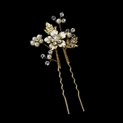 Pearl and Rhinestone Floral Hair Pin 039 Gold