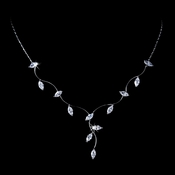 * Striking Antique Silver Clear CZ Wavy Vine & Leaf Necklace 3522