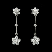 Charming Antique Silver Clear CZ Flower Earrings 3677