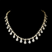 Gorgeous Cubic Zirconia Drop Gold Accent Necklace N 2404