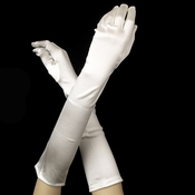 Satin Bridal Bridesmaid Gloves - Diamond White