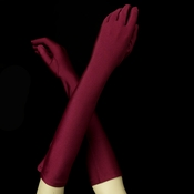 Matte Satin Bridal Bridesmaid Gloves - Burgundy