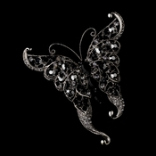 * Rhinestone Butterfly Brooch 74 Antique Silver Black