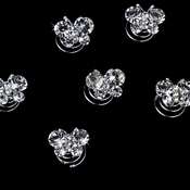 12 Precious Silver Clear Crystal Butterfly Twist-Ins 0120