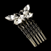 Fabulous Silver Clear Rhinestone Butterfly Hair Comb 6720