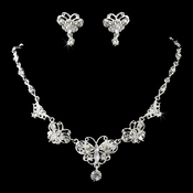 Necklace Earring Set NE 3396 Silver Clear