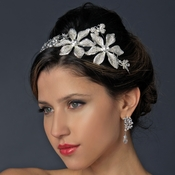* Whimsical Antique Silver Side Accented Flower & Butterfly Headpiece 9944