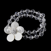 Silver Freshwater Coin Mother of the Pearl, Swarovski Crysteal Bead & Rhinestone Flower Stretch Bracelet 8700