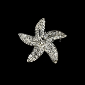 Silver Rhinestone Starfish Bridal Beach Brooch 3177