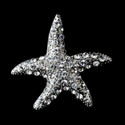 * Antique Silver Clear Rhinestone Starfish Brooch 93
