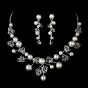 * Swarovski Crystal & Pearl Necklace Earring Set NE 8135