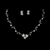 Silver Cubic Zirconia Star & Vine Necklace Set NE 2016