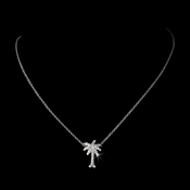 Glistening Cubic Zirconia Palm Tree Necklace in Silver 8117