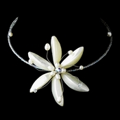 White Shell Flower w/ Pearl Choker Necklace 7826