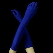 Matte Satin Bridal Bridesmaid Gloves - Cobalt Blue