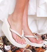 Breeze ~ White High Wedge Bridal Flip Flops with Sequins & Crystals