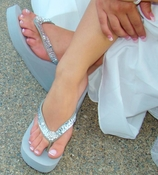 Breeze ~ Silver High Wedge Bridal Flip Flops with Sequins & Crystals