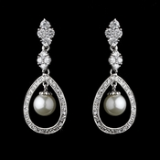 Charming Silver Clear CZ & Ivory Pearl Earrings 8248
