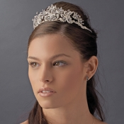 * Antique Silver Plated Crystal Rhinestone Majesty Tiara - HP 9032