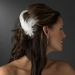 * Feather Tail Bridal Hair Comb with Floral Rhinestone Accent - Comb 8403 White or Ivory