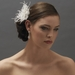 Delicate Feather Flower Bridal Hair Accessory Comb 8391 Ivory or White