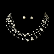 Six Strand Illusion Pearl Necklace and Earring Set NE3976