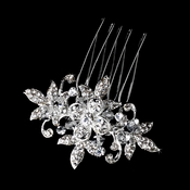 Stunning Silver Clear Rhinestone & Crystal Flower Hair Pin 1583