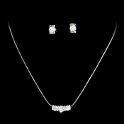 Silver Crystal Cubic Zirconia Three Stone Jewelry Set NE 70734