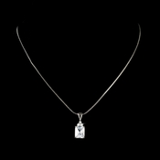 Fabulous Silver Clear Emerald Cut CZ Pendant Necklace 2446