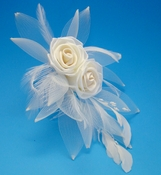 Ivory Rum Pink Feather Fascinator (Special Order Any Color)