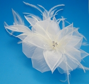 White Bridal Feather Fascinator (In Stock White or Special Order Any Color