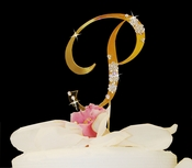 French Flower ~ Gold & Crystal Accented Cake Topper