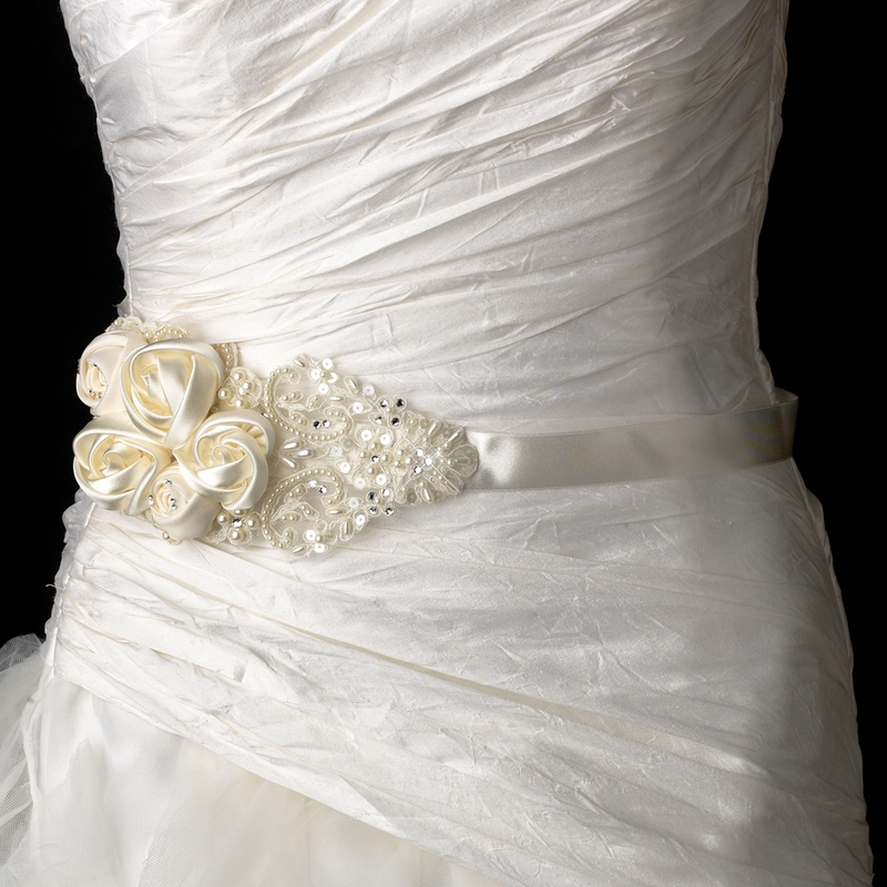 Decadent Bridal Flower Belt Sash With Rhinestone Amp Beaded Accents White Ivory Or Black