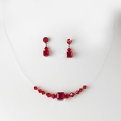 * Red Illusion Necklace & Earring Set NE 233
