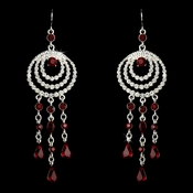 * Immaculate Silver Clear & Red Austrian Crystal Chandelier Earrings 24496