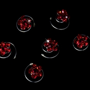 12 Delightful Silver Red Rhinestone Flower Twist-Ins 01