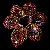 Large Gold Multi Red Rhinestone Celebrity Style Brooch for Gown or Hair - Brooch 8798