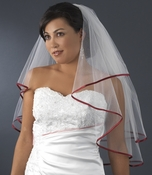 "Veil 655 Ivory - Burgundy Satin Ribbon Edge (24"" x 27"" long) **1 left**"