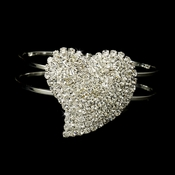 Lovely Silver Clear Heart Bracelet 1096
