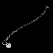 Silver Designer Inspired Heart Toggle Bracelet B 8004