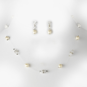 Necklace Earring Set N 8370 E 216 Silver Ivory