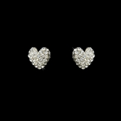 Lovely Silver Clear Pave Stud Heart Earrings 3675