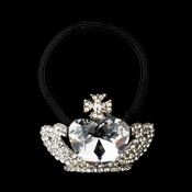 * Silver Clear Elastic Heart Crown 6732